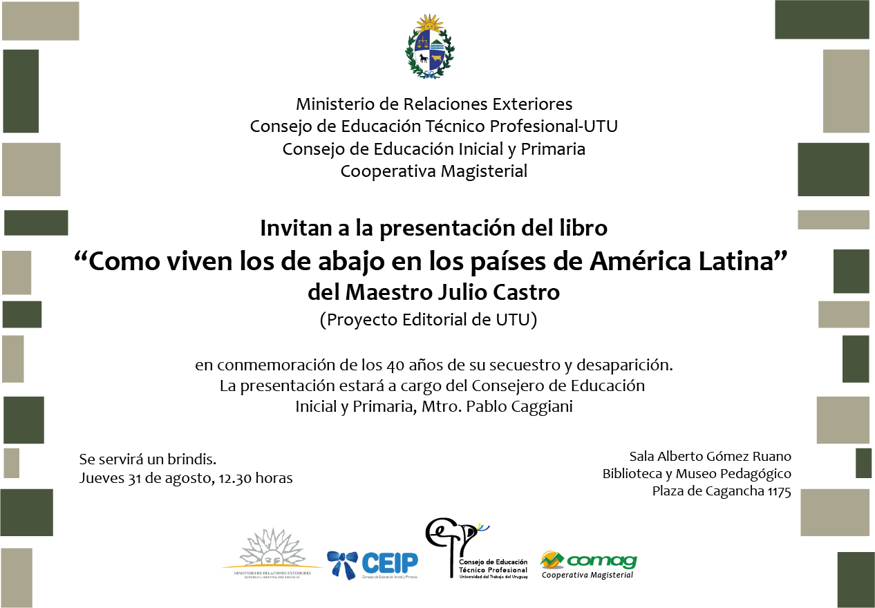 Invitación Al Lanzamiento Del Libro Del Mtro Julio Castro